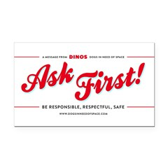 Ask First! Rectangle Car Magnet