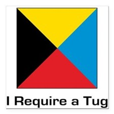 """require tug.png Square Car Magnet 3"""" x 3"""""""