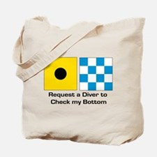 request diver check bottom.png Tote Bag