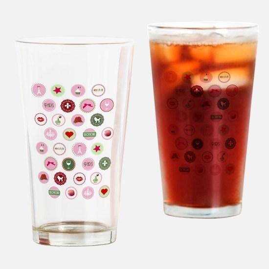 Girly Paris Pattern Drinking Glass