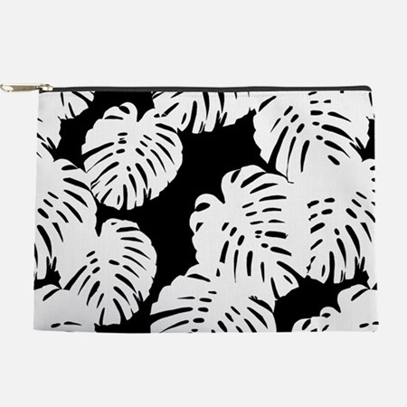 Black   White Banana Leaves Tropical Makeup Bag