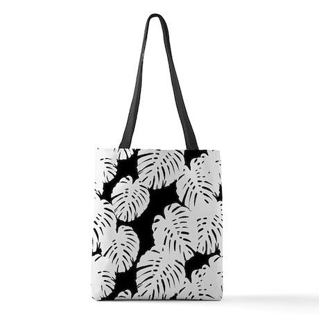 Black | White Banana Leaves Tro Polyester Tote Bag