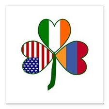 "Shamrock of Armenia Square Car Magnet 3"" x 3"""