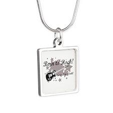 Born To Rock Silver Square Necklace
