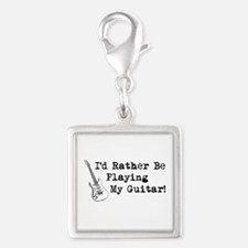 Id Rather Be Playing My Guitar Silver Square Charm