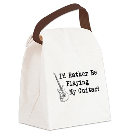 Id Rather Be Playing My Guitar Canvas Lunch Bag