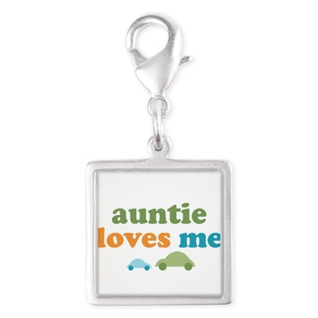Auntie Loves Me Silver Square Charm