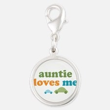 Auntie Loves Me Silver Round Charm
