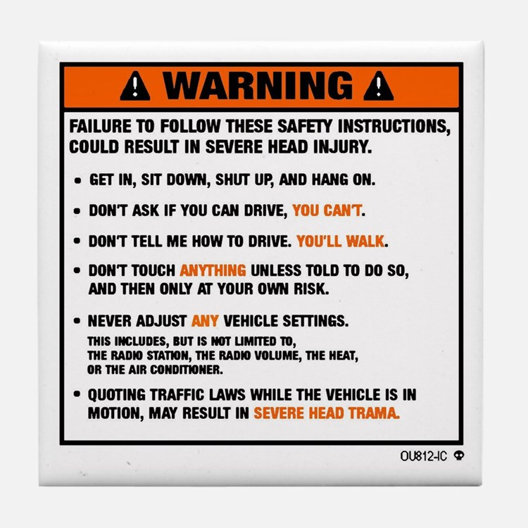 OEM warning label Tile Coaster