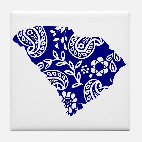 Blue Paisley Tile Coaster