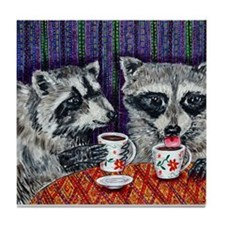 Raccoons at the Cafe Tile Coaster