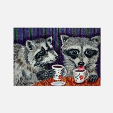Raccoons at the Cafe Rectangle Magnet