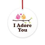 I Adore You Bird Couple Ornament (Round)