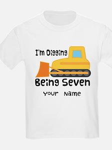 Personalized 7th Birthday Bulldozer T-Shirt
