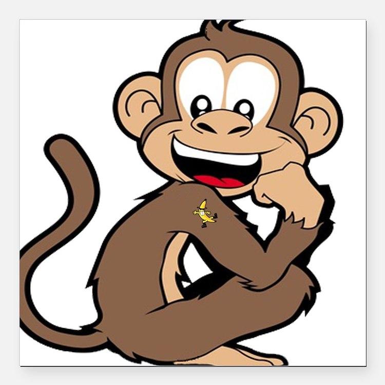 "cheeky Monkey Square Car Magnet 3"" x 3"""
