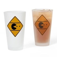 Classic arcade street crossing sign Drinking Glass