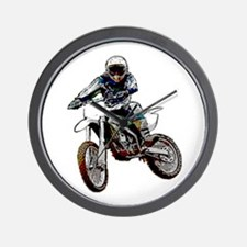 Playing in the dirt with a motorbike Wall Clock