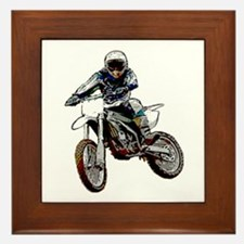 Playing in the dirt with a motorbike Framed Tile