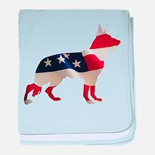 Patriotic German Shepherd baby blanket