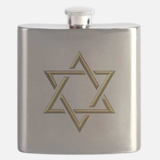 "Golden ""3-D"" Star of David Flask"