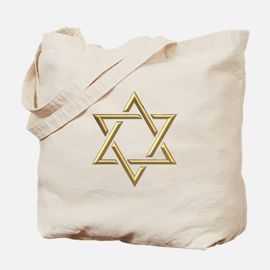 "Golden ""3-D"" Star of David Tote Bag"