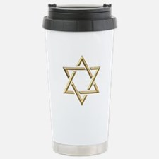 "Golden ""3-D"" Star of David Travel Mug"