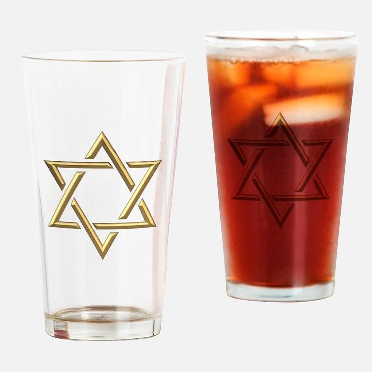 "Golden ""3-D"" Star of David Drinking Glass"