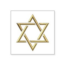 "Golden ""3-D"" Star of David Square Sticker 3"" x 3"""