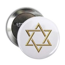 """Golden """"3-D"""" Star of David 2.25"""" Button"""