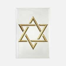 "Golden ""3-D"" Star of David Rectangle Magnet"