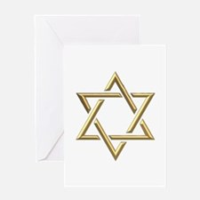 "Golden ""3-D"" Star of David Greeting Card"