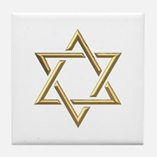"Golden ""3-D"" Star of David Tile Coaster"