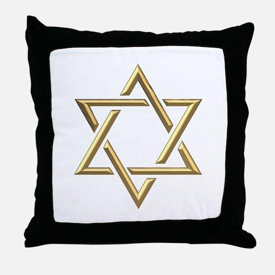 "Golden ""3-D"" Star of David Throw Pillow"