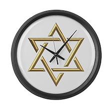 "Golden ""3-D"" Star of David Large Wall Clock"