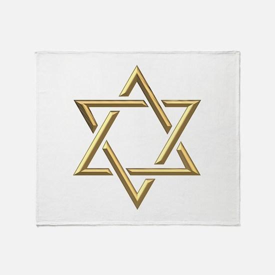 """Golden """"3-D"""" Star of David Throw Blanket"""