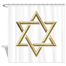 "Golden ""3-D"" Star of David Shower Curtain"
