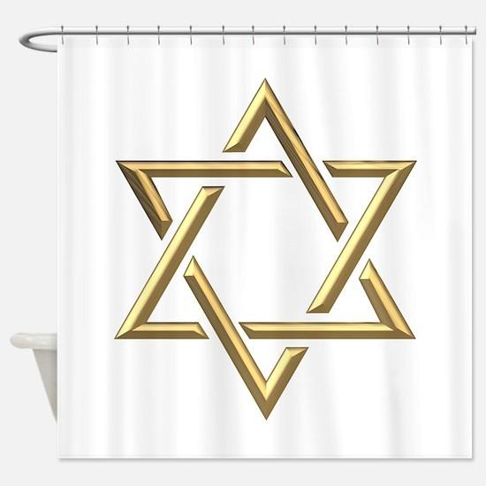 """Golden """"3-D"""" Star of David Shower Curtain"""