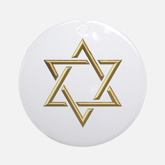 "Golden ""3-D"" Star of David Ornament (Round)"