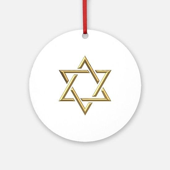 "Golden ""3-D"" Star of David Ornament (Round)"