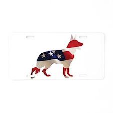 Patriotic German Shepherds Aluminum License Plate