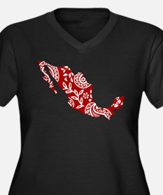 Red Women's Plus Size V-Neck Dark T-Shirt