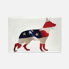 Patriotic German Shepherds Rectangle Magnet (10 pa
