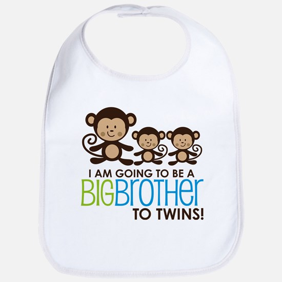 Monkey Big Brother to Twins Baby Bib