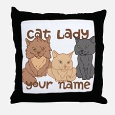 Personalized Cat Lady Throw Pillow