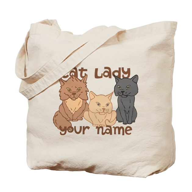 Personalized Cat Lady Tote Bag by sunnydaysdesign