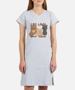 Personalized Cat Lady Women's Nightshirt