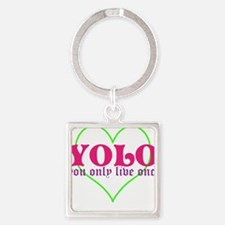 Cute yolo Square Keychain