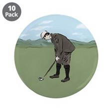 "Vintage Style Golfer putting 3.5"" Button (10 pack)"