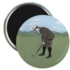 """Vintage Style Golfer putting 2.25"""" Magnet (100 pac"""