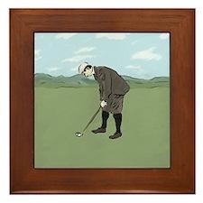 Vintage Style Golfer putting Framed Tile